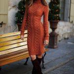 2020 Tarçın Triko Elbise Modelleri Şık ve Dikkat Çekici Kazak Elbiseler