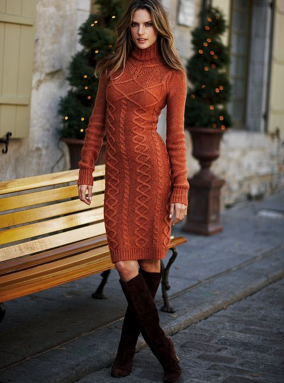 7f5ae3ba5694a 2020 Tarçın Triko Elbise Modelleri Şık ve Dikkat Çekici Kazak Elbiseler. «