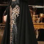 Tesettür Abiye Modelleri Siyah Uzun Pul Payetli