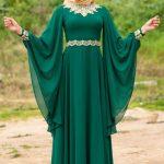 Tesettür Abiye Modelleri Yeşil Uzun Yarasa Kol
