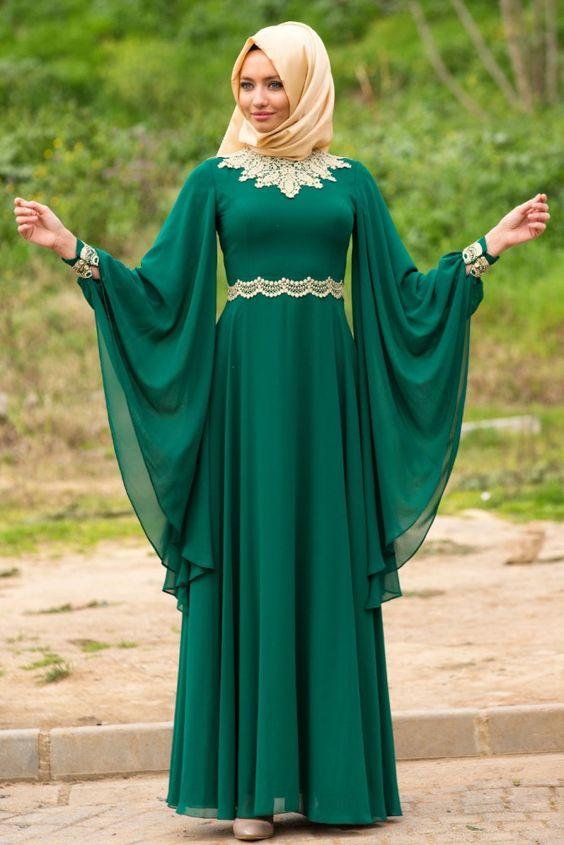 e57259e36d044 Tesettür Abiye Modelleri Yeşil Uzun Yarasa Kol | SadeKadınlar ...
