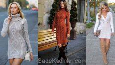 Triko Elbise Modelleri Şık ve Dikkat Çekici 2018 Kazak Elbiseler