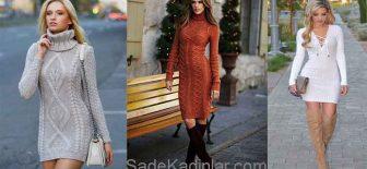 Triko Elbise Kombinleri Şık ve Dikkat Çekici 2019 Kazak Elbiseler
