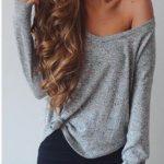 Triko Kazak Modelleri 2018 Kış Modası Gri Omuz Dekolteli Salaş Kazak