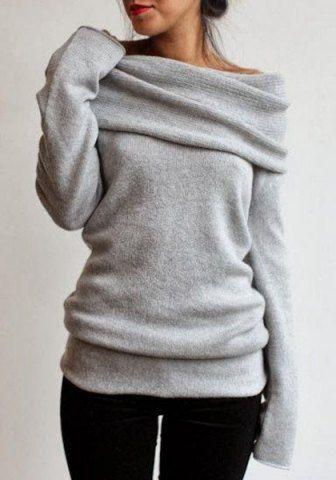 Triko Kazak Modelleri 2018 Kış Modası Gri Omzu Açık Düz Örgü