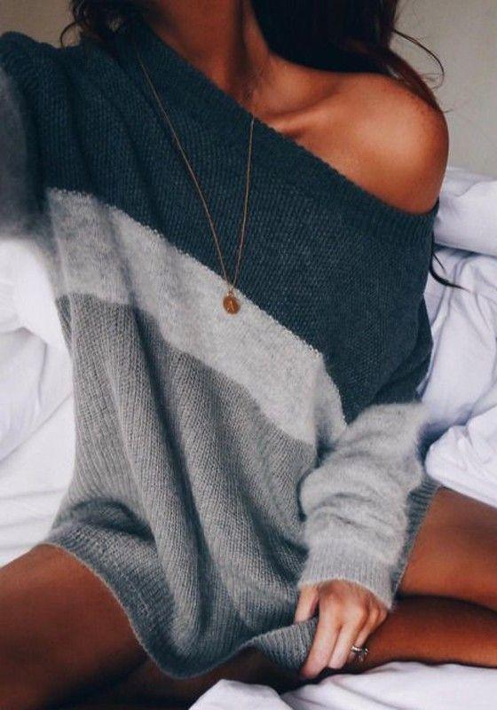 Triko Kazak Modelleri 2018 Kış Modası Gri ve Tonları Omzu Açık