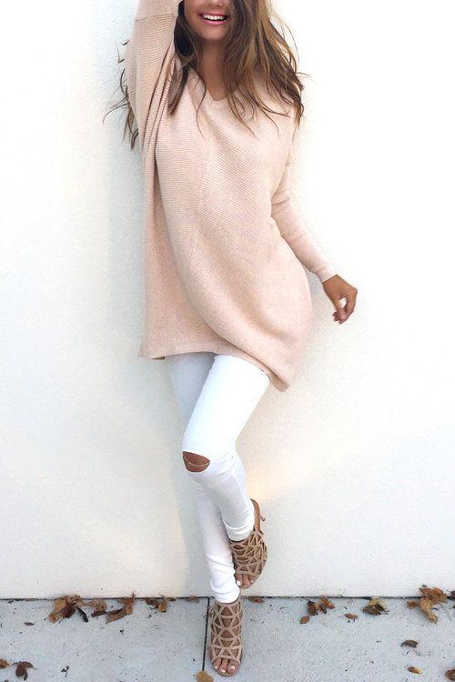 Triko Kazak Modelleri 2018 Kış Modası Pudra V Yakalı Sade