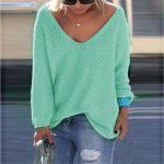 Triko Kazak Modelleri Yeşil Yakası Açık Dökümlü