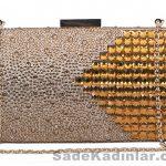 Yüzeyi taşlarla zenginleştirilmiş zincir askılı Abiye Çanta