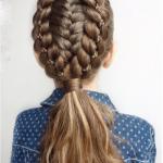 Çocuk Saç Modelleri Örgü Üçlü Bağlamalı