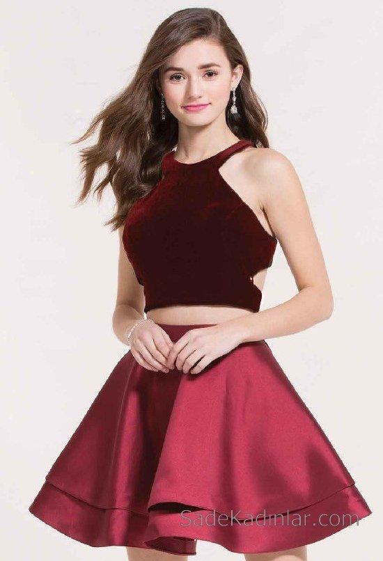 f923ecb8b932e İki parçalı saten kısa mezuniyet elbisesi | SadeKadınlar, Kıyafet ...