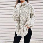Örgü Kazak Modelleri 2018 Kış Modası Gri Boğazlı Salaş