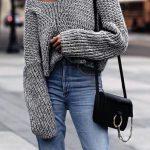 Örgü Kazak Modelleri 2018 Kış Modası Gri Omzu Açık Kollar Dökümlü