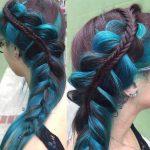 Örgü Saç Modelleri Mavi Balık sırtı Örgü genc kiz sac modelleri