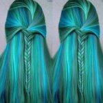 Örgü Saç Modelleri Yeşil ve Mavi genc kiz sac modelleri