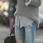 Şık Kazak Modelleri Gri Bogazlı 2018 Kış Modası