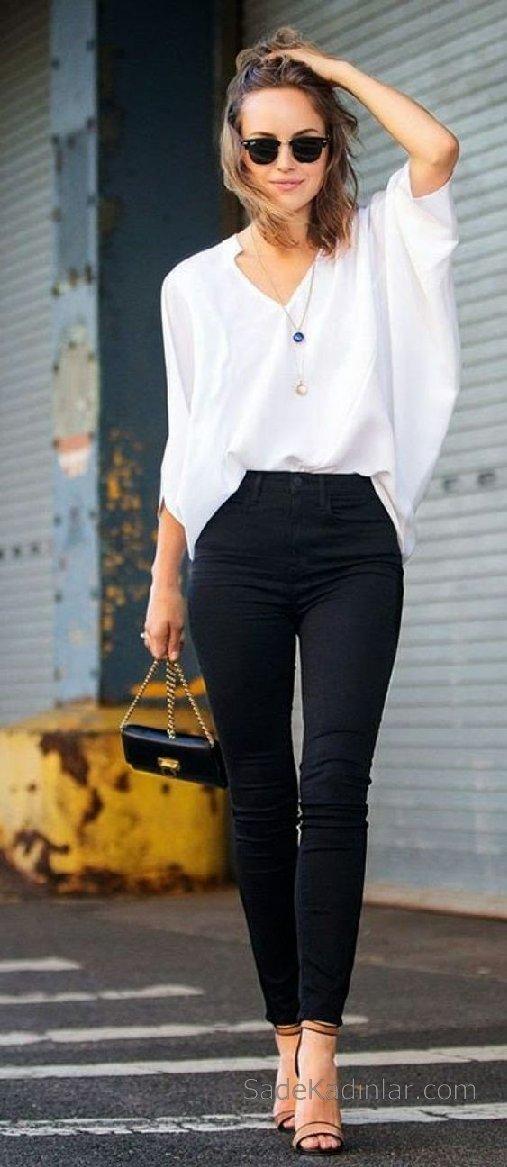 Şık Ofis Kıyafetleri ve Ofis Giyim Kombinleri Beyaz Bluz Pantolon