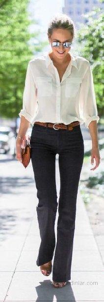 Şık Ofis Kıyafetleri ve Ofis Giyim Kombinleri Beyaz Gömlek