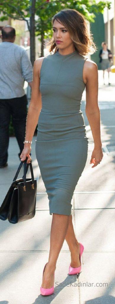 Şık Ofis Kıyafetleri ve Ofis Giyim Kombinleri Mavi Elbise