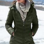 Şişme Mont Yeşil Uzun Şapkalı Kaz Tüyü Mont
