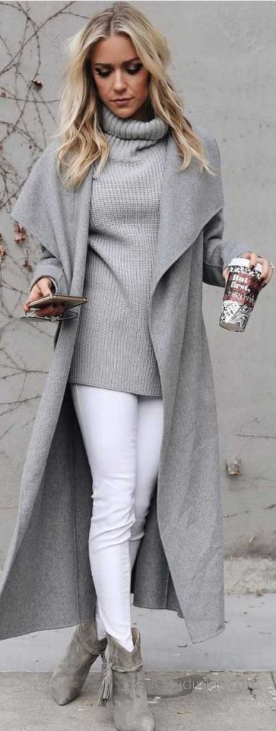 2020-2021 Bayan Sonbahar Kış Kombinleri Beyaz Pantolon Gri Kazak Gri Geniş Yaka Mont Nubuk Ayakkabı