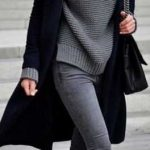 2019-2020 Sonbahar Kış Kombinleri Gri Pantolon Siyah Mont Gri Boğazlı Kazak