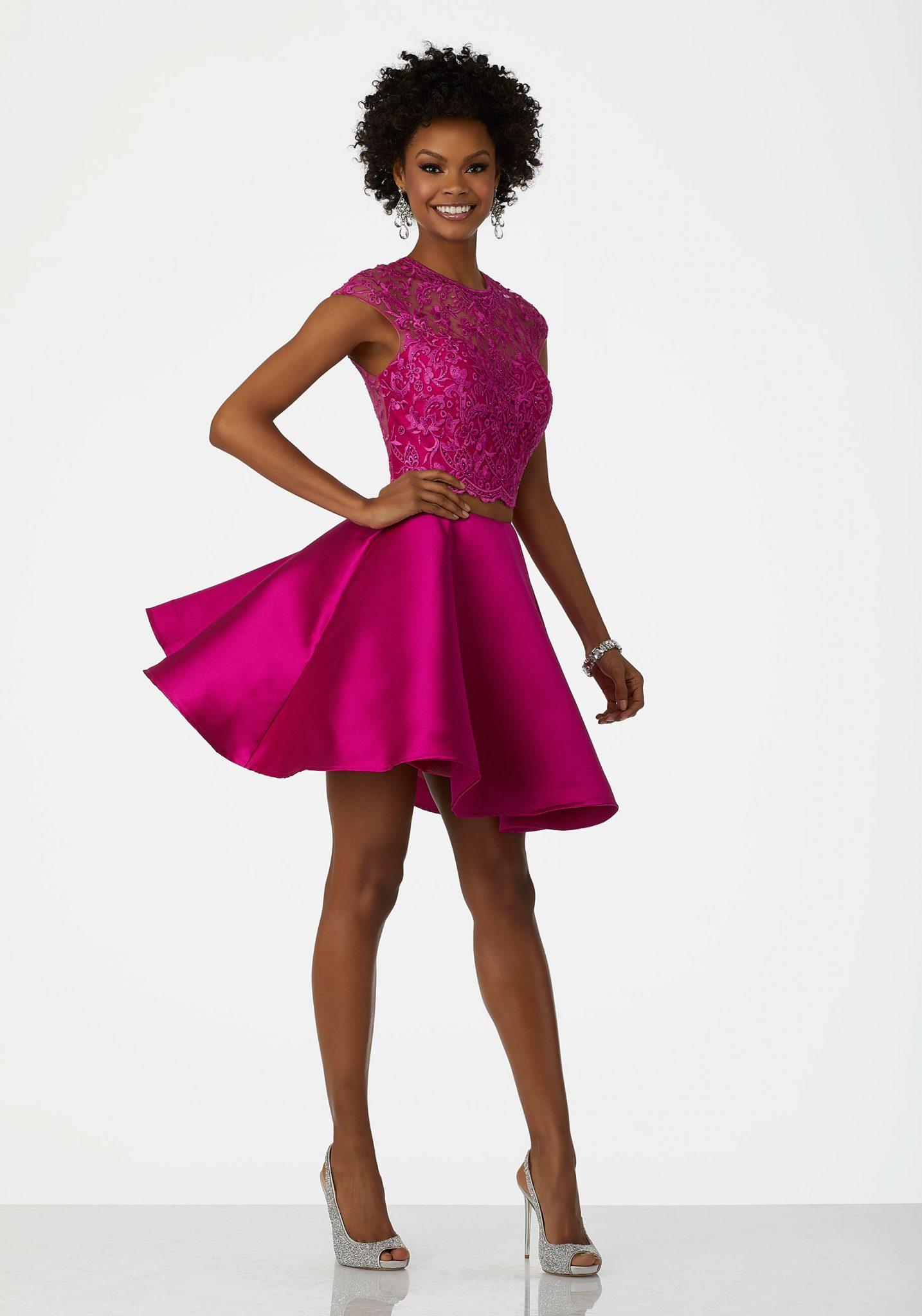 2020 Abiye Elbise Kısa Abiye Modelleri Fuşya Saten İki Parça Boncuk İşlemeli