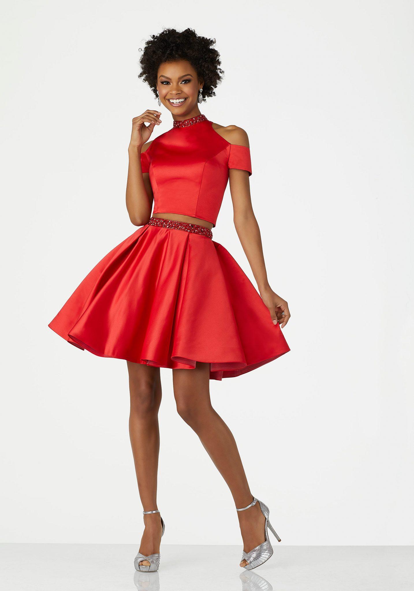 2020 Abiye Elbise Kısa Abiye Modelleri Kırmızı Omuzlar Açık Saten İki Parça