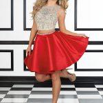 2018 Abiye Elbise Kısa Abiye Modelleri Kırmızı Saten Etek İki Parça Boncuklu