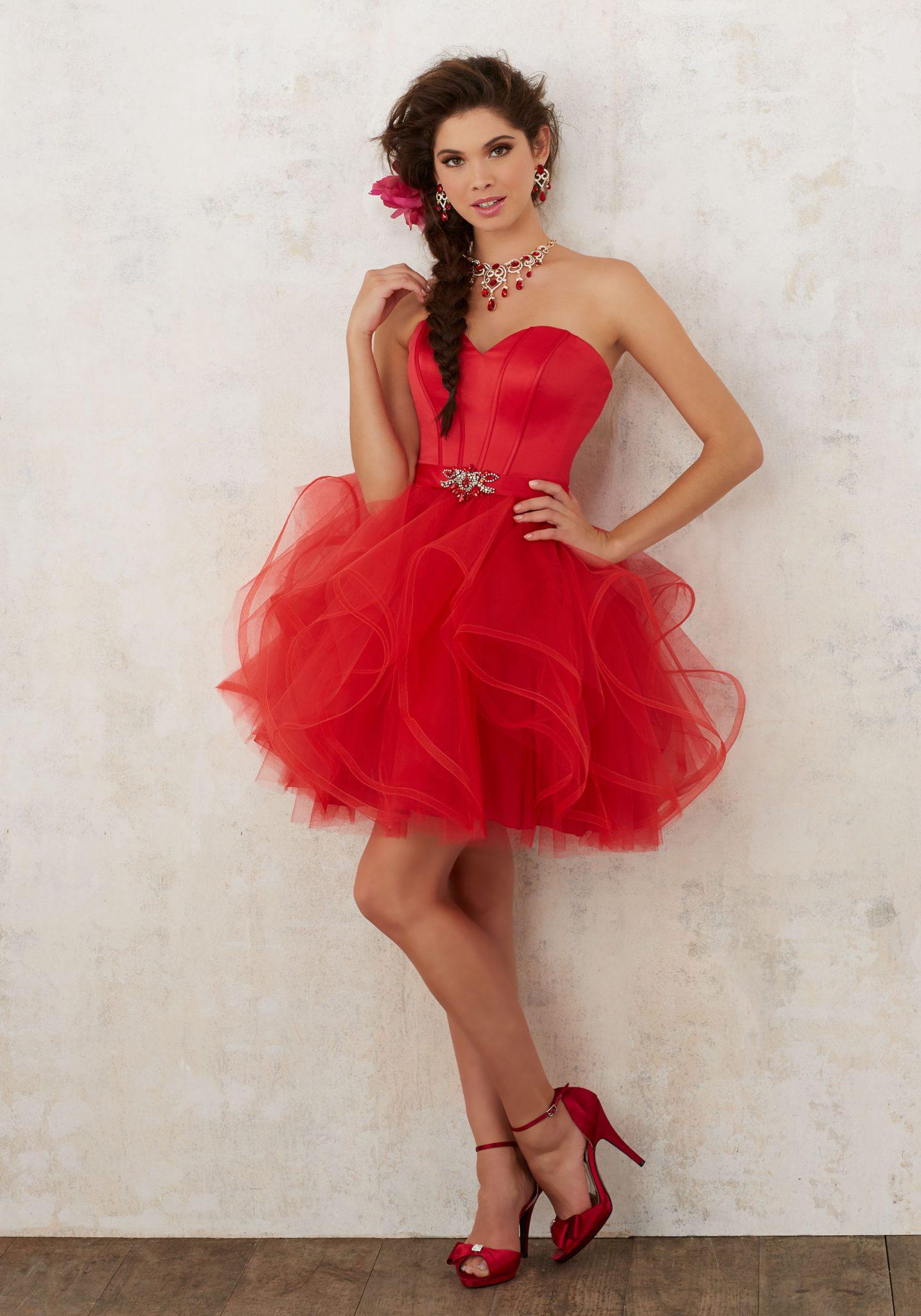 2020 Abiye Elbise Kısa Abiye Modelleri Kırmızı Straplez Kabarık Tül Etek Beli Kemerli