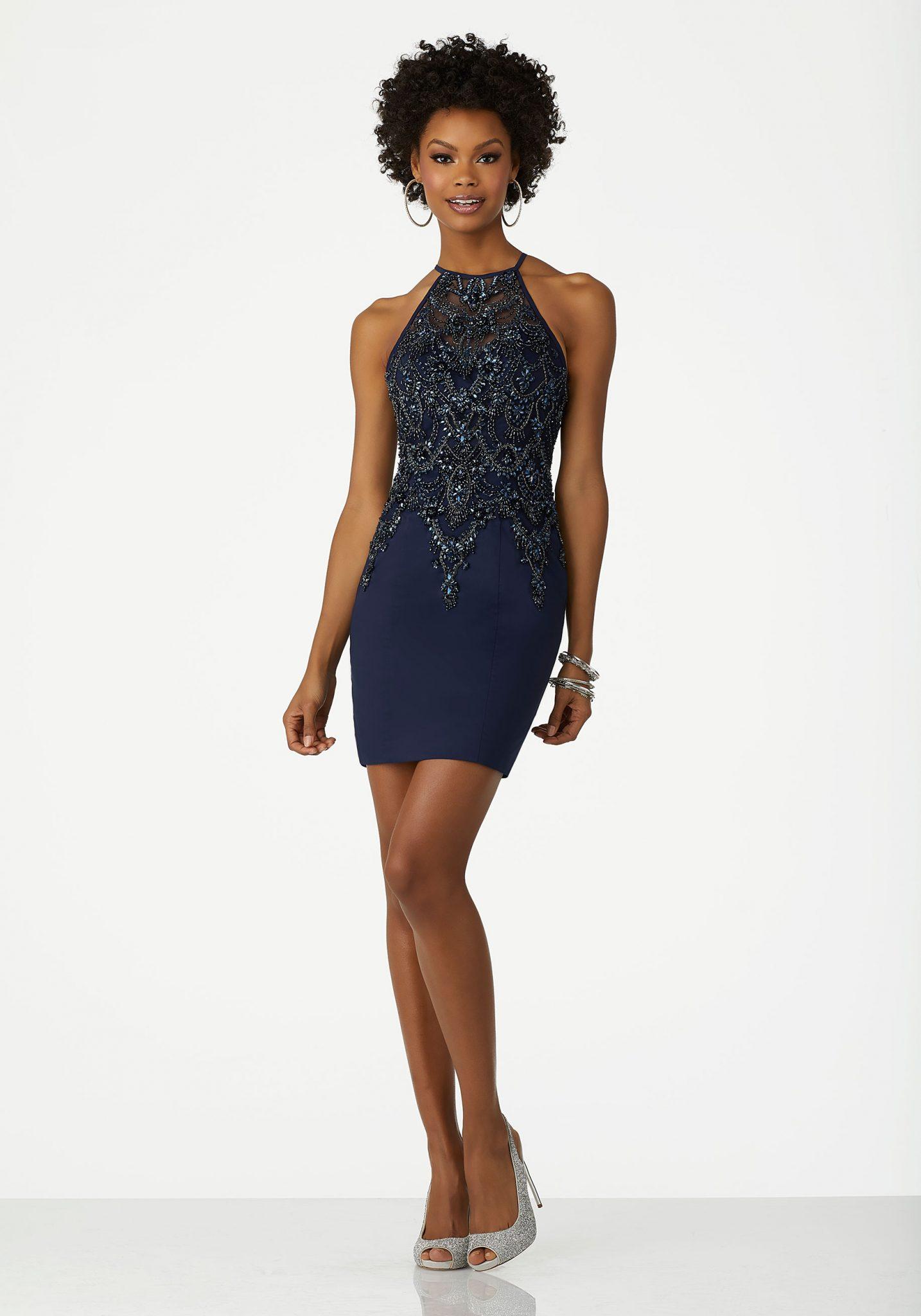 2020 Abiye Elbise Kısa Abiye Modelleri Lacivert Halter Yaka Boncuk İşlemeli