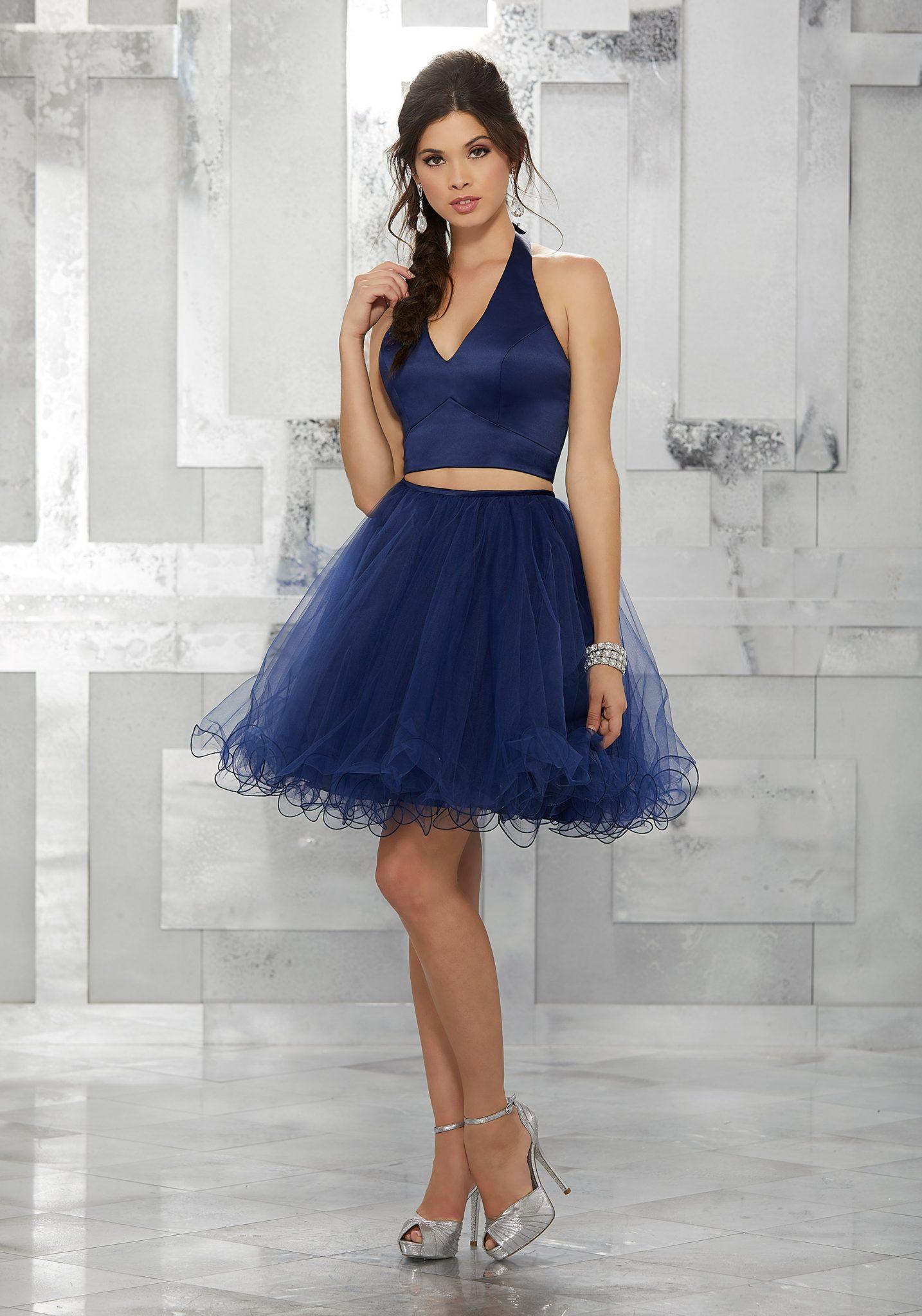 2020 Abiye Elbise Kısa Abiye Modelleri Lacivert Kalın Askılı Kabarık Tül Etek İki Parçalı