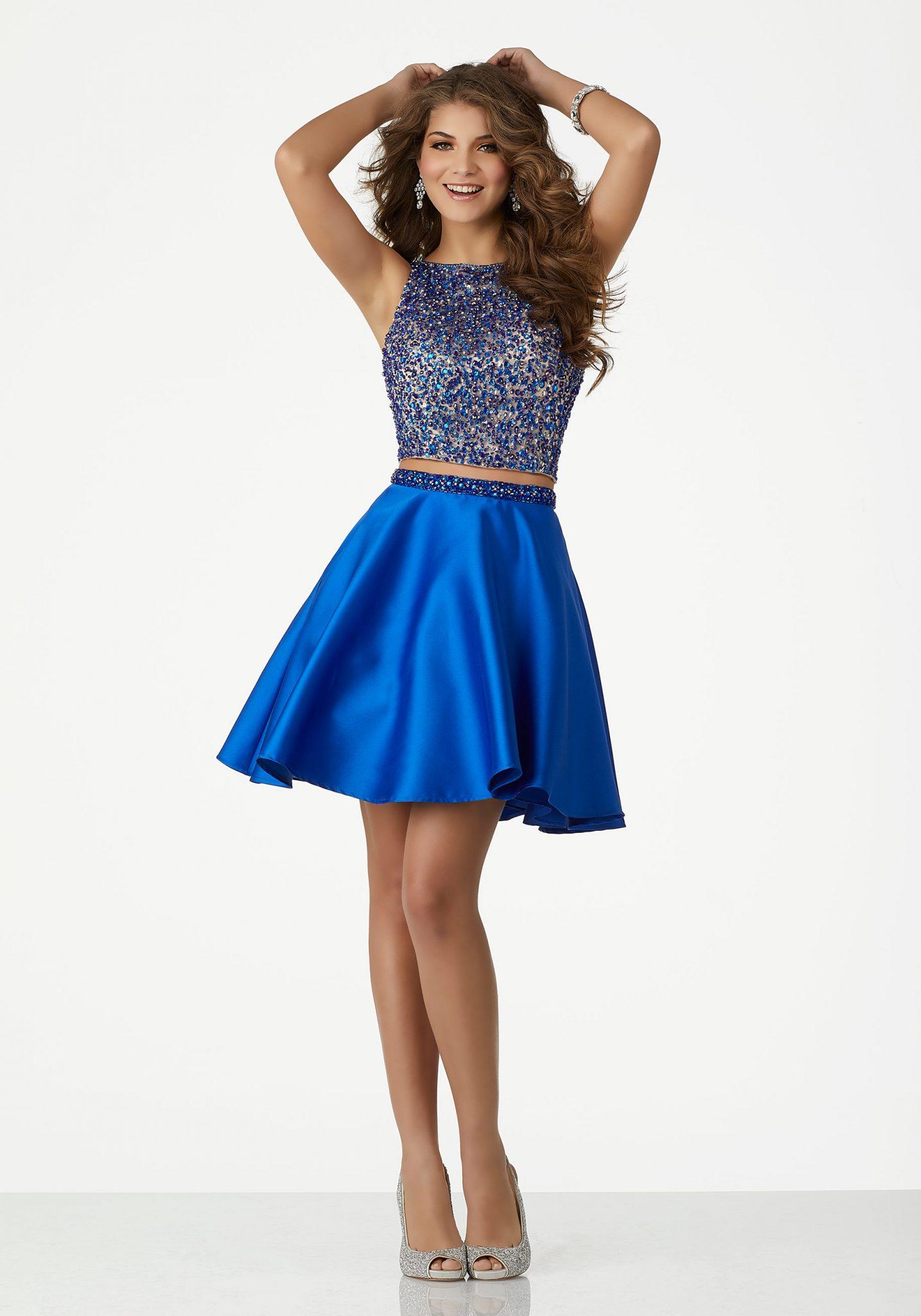 2020 Abiye Elbise Kısa Abiye Modelleri Saks Mavi Kolsuz İki Parça Saten Etek Boncuklu