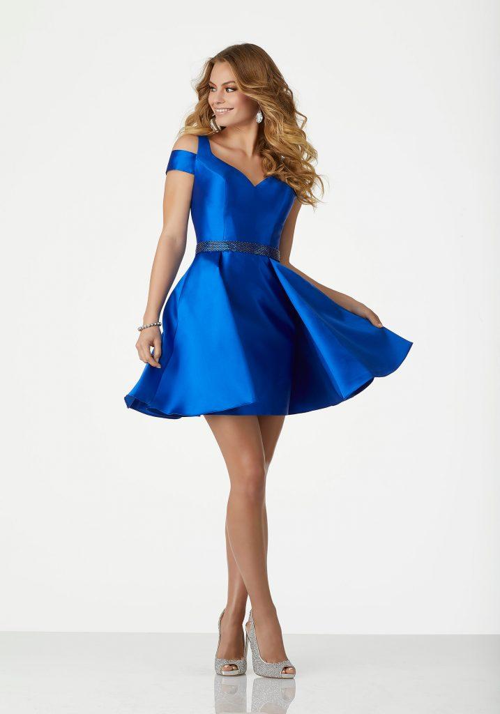 2020 Abiye Elbise Kısa Abiye Modelleri Saks Mavi Omuzlar Açık Saten Beli Boncuk Kemerli