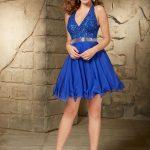 2018 Abiye Elbise Kısa Abiye Modelleri Saks Mavi Şifon Etek Askılı V Yakalı Boncuk İşlemeli