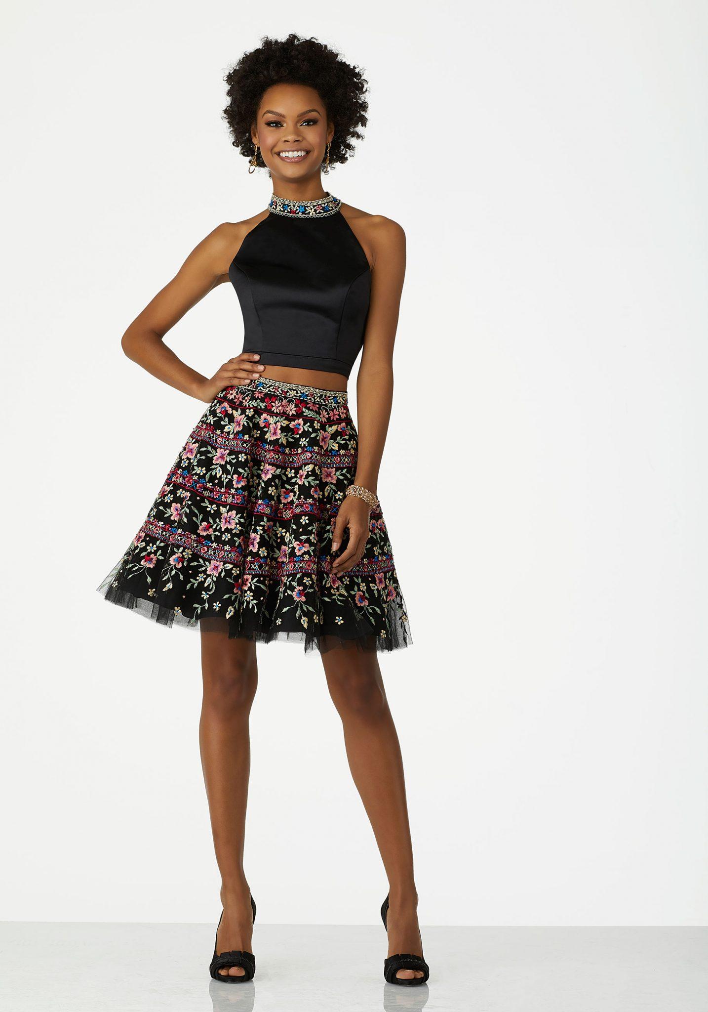 2020 Abiye Elbise Kısa Abiye Modelleri Siyah Halter Yaka İki Parça Tül Etek Nakış İşlemeli