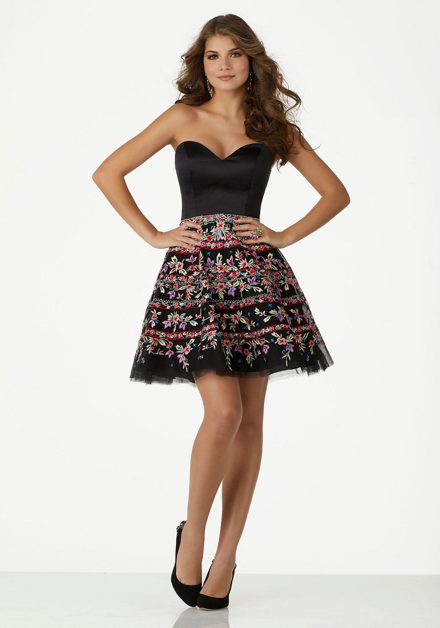 2020 Abiye Elbise Kısa Abiye Modelleri Straplez Saten Tül Etekli Çiçek Nakış İşlemeli