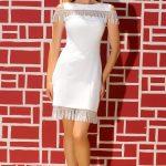 2020 Abiye Elbiseler Beyaz Kısa Kolsuz Püsküllü