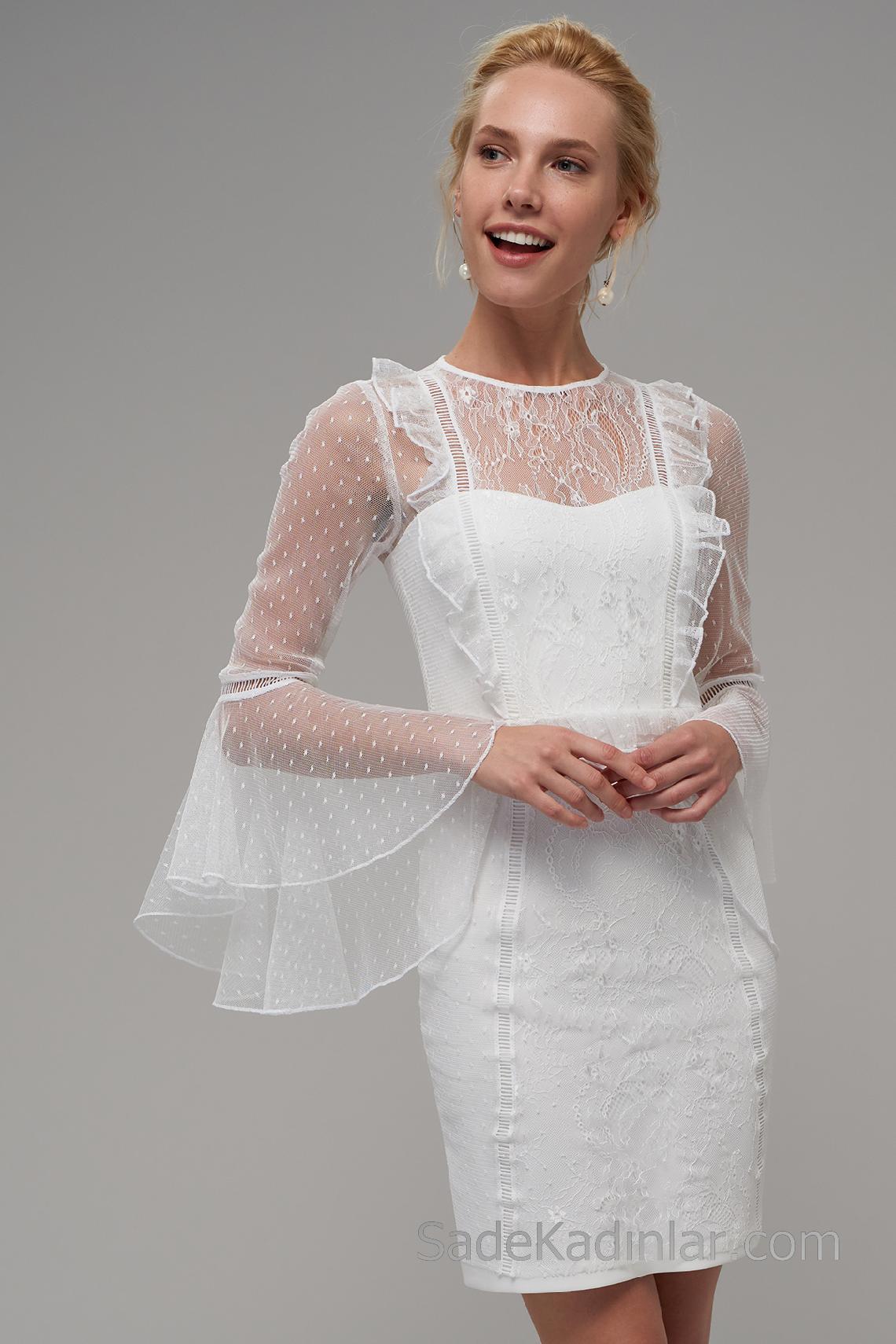 60fac61c55b6e 2018 Abiye Elbiseler Beyaz Kısa Transparan Tüllü Yaka İspanyol Kol ...