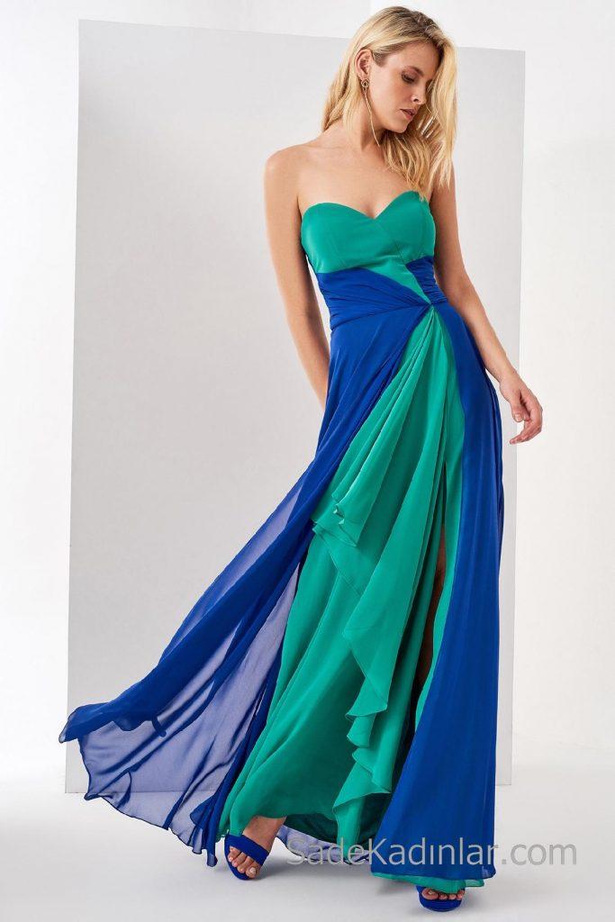 2018 Abiye Elbiseler Saks Mavi Ve Yeşil Uzun Omzu Açık Kalp Yaka