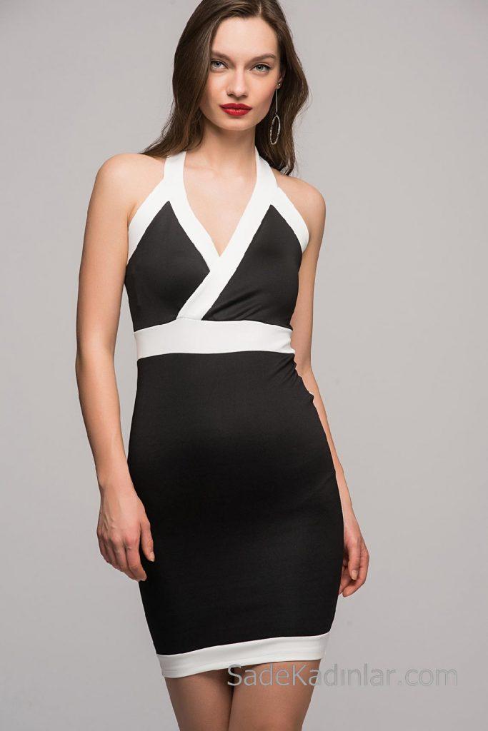 2018 Abiye Elbiseler Siyah Kısa Askılı Önü Çapraz Beyaz Şerit Detaylı