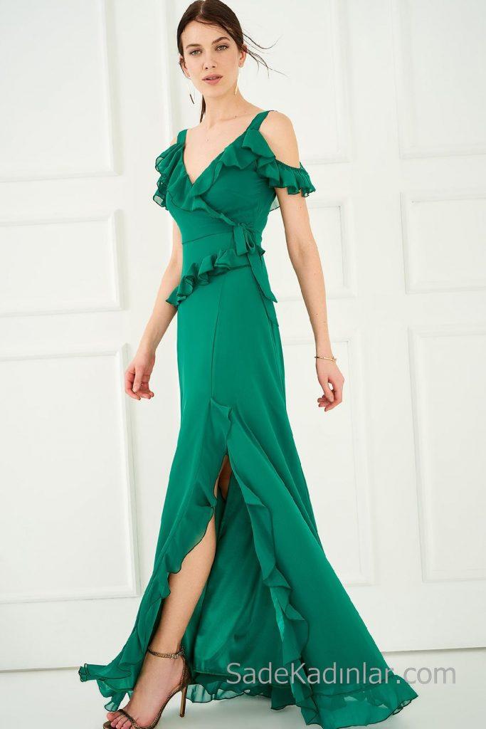 2020 Abiye Elbiseler Yeşil Uzun Askılı Fırfır Detaylı Yırtmaçlı