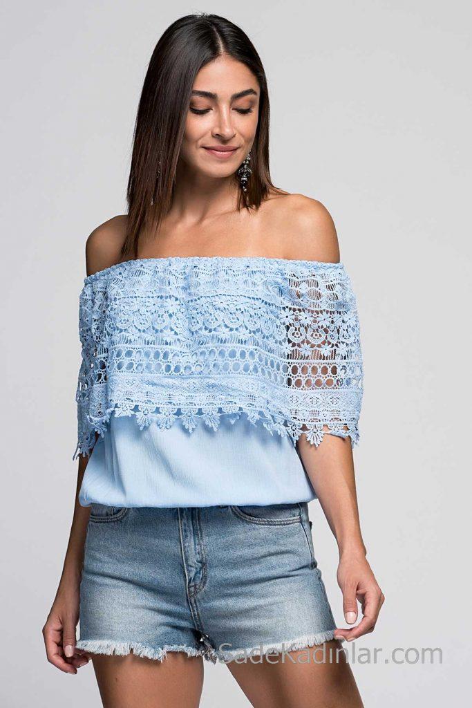 2019 Bluz Modelleri Bebek Mavisi Omzu Açık Güpür Dantel Yaka
