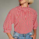 2018 Bluz Modelleri Kırmızı Fırfırlı Yaka Yetim Kol Çizgili