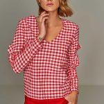 2018 Bluz Modelleri Kırmızı V Yakalı Ekose