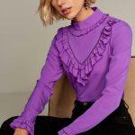 2018 Bluz Modelleri Mor Boğazlı Önden V Fırfır Detaylı
