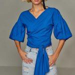 2018 Bluz Modelleri Saks Mavi Bağlamalı V Yakalı Şişme Kollu