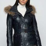 2018 Deri Mont ve Deri Ceket Bayan Lacivert Kısa Kemerli Kapşonlu Fermuarlı