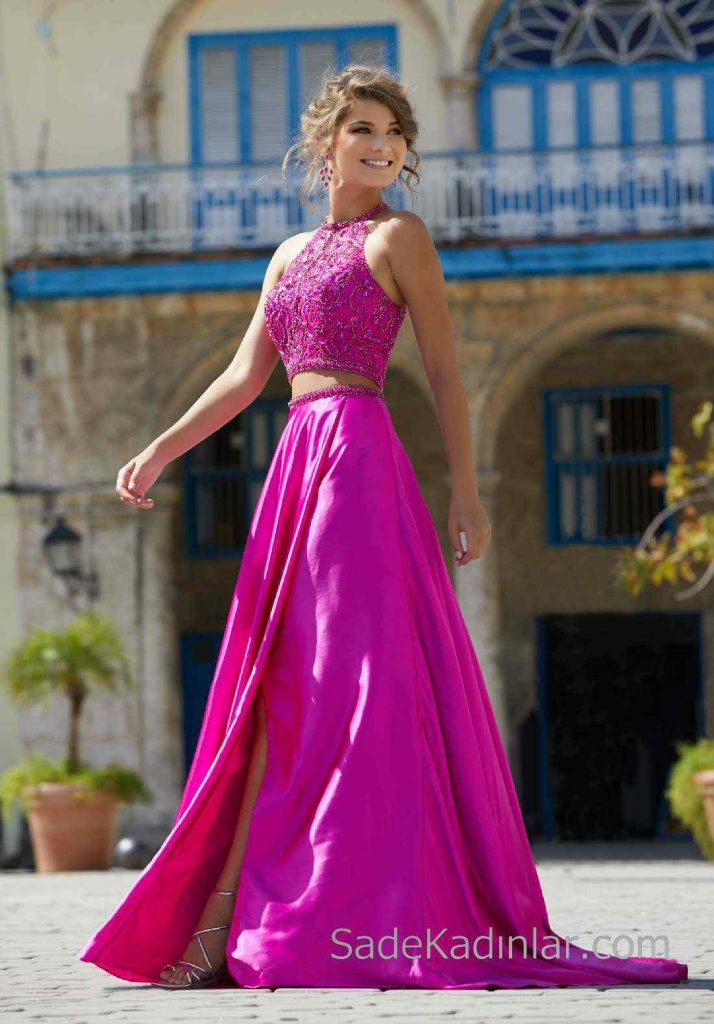 2020Abiye ve Gece Elbiseleri Fuşya Uzun İki Parça Boncuklu