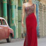 2020Abiye ve Gece Elbiseleri Kırmızı Uzun Tek Omuz Açık Boncuk İşlemeli